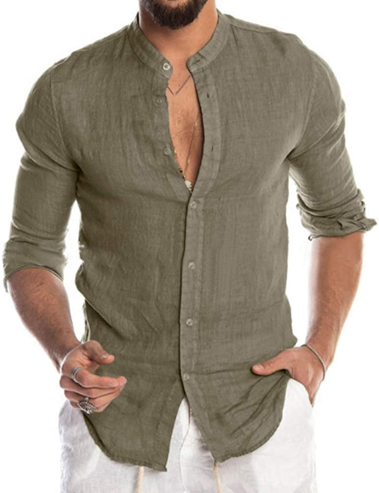VANVENE Mens Casual Long Sleeve Shirt Linen Regular Fit/ Henley Top with Button