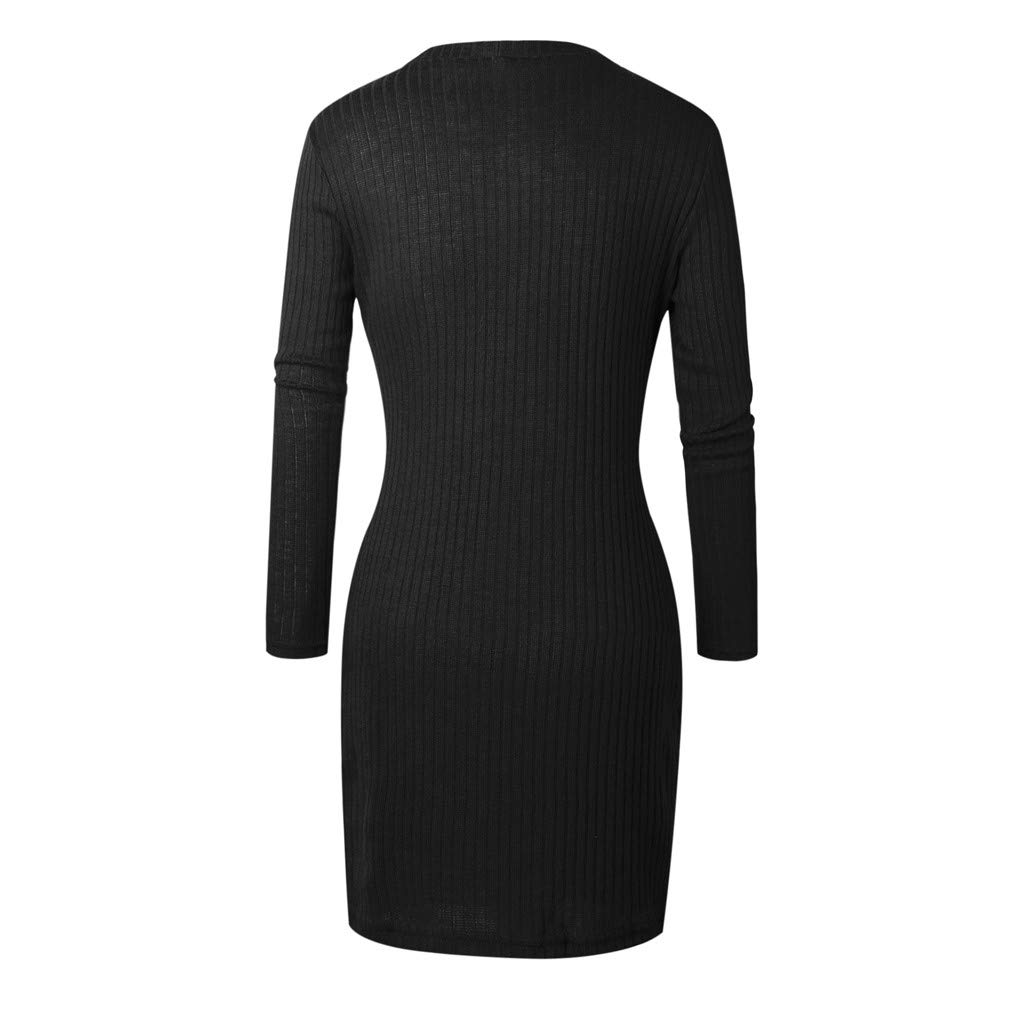 Fheaven-clothes Women Lace-up V Neck Sweater Dress Long Sleeve Stretch Bodycon Knitted Mini Jumper Dresses