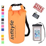 LED Camping Lantern - Waterproof Dry Bags - Floating Compression Stuff Sacks Gear Backpacks for Fishing Boating Kayaking Canoeing Snowboarding - Free Universal Water Proof Phone Case and Pocket Tool (Orange, 5L)