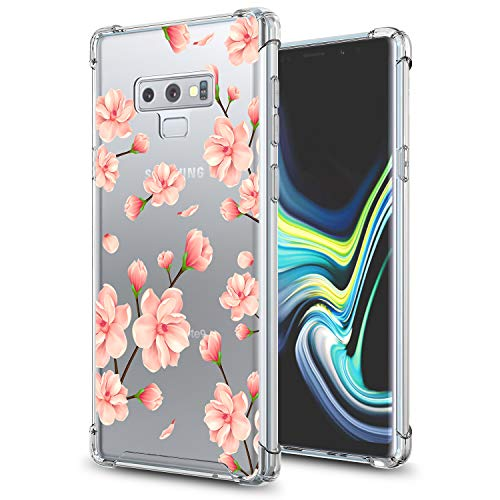 Cherry Blossom Note - GORGCASE Galaxy Note 9 Case Slim TPU Fashion Bumper Anti-Scratch [Shock Absorbing] Clear Pattern Hard PC Back TPU Drop Protective Cover for Girls Women Samsung Note 9 (2018) 6.4 Inch Cherry Blossom