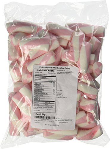 Puffy Poles Pink & White Jumbo Marshmallow Twists 1LB Bag by The Nutty Fruit House