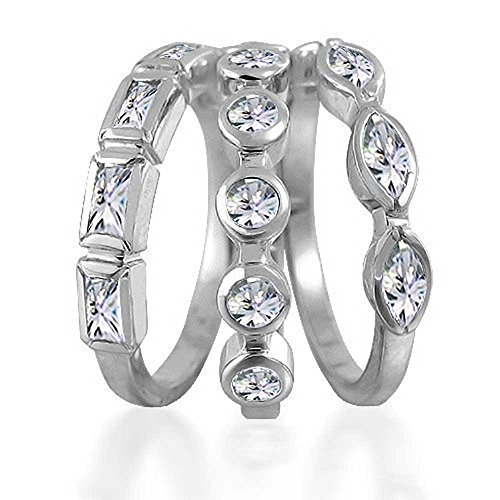 Bling Jewelry Baguette Marquise Round CZ Stackable Set of 3 Rings (Baguette Round Jewelry Set)