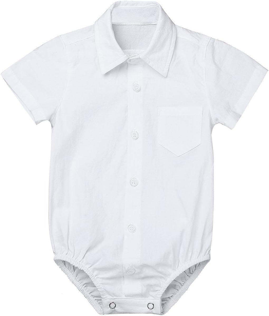 iiniim Body Algodón para Bebé Niño Niña (0-24 Meses) Mameluco Blanco Camsieta Manga Corta Ropa Infantil Traje de Fiesta Boda Bautizo Recién Nacido
