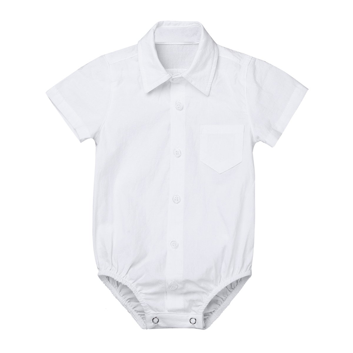 MSemis Baby Boys' White Formal Dress Shirts Gentleman Romper Bodysuit Wedding Party Outfits Short Sleeves White 0-3 Months
