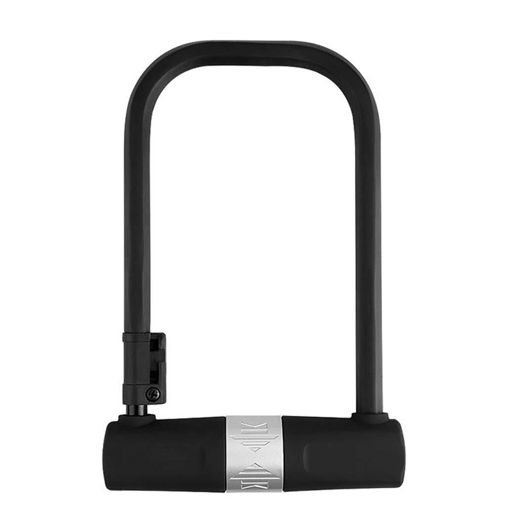 Mountain Bike Lock Anti-Theft Lock Portable U-Lock Folding Bicycle Dead Coaster Lock U-Shaped with Lock Frame Equipment (Color : Black)