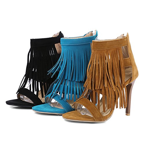 fereshte Women's Suede Retro Open Toe Ankle-Wrap Sandals High Heel Shoes Summer Tassel Boots Black qydR6