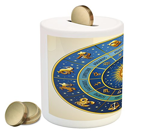 Astrology Piggy Bank by Ambesonne, Wheel of Astrological Signs Names and Dates with Moon Sun in Middle, Printed Ceramic Coin Bank Money Box for Cash Saving, Blue Pale Blue and Gold