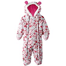 Pink Platinum Baby Girls Owl Microfleece Quilted Puffer Snow Pram Suit Bunting, Pink, 6-9 Months