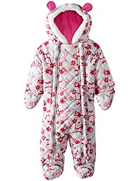 Baby Girls Owl Microfleece Quilted Puffer Snow Pram Suit Bunting