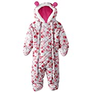 Pink Platinum Baby Girls Owl Microfleece Quilted Puffer Snow Pram Suit Bunting, Pink, 3-6 Months