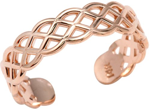 14k Rose Gold Adjustable Pink Weave Toe Ring by More Toe Rings