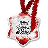 Christmas Ornament Vintage Lettering What Happens at Bingo, red - Neonblond