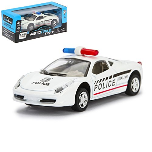 Autograd 911 Police Toy Car Sound & Light Effects Friction Powered 1:43 Scale Miniature ()