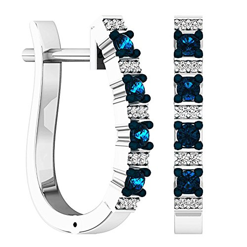 Dazzlingrock Collection 0.35 Carat (ctw) Round White & Blue Diamond Ladies Hoop Earrings 1/3 CT, Sterling Silver