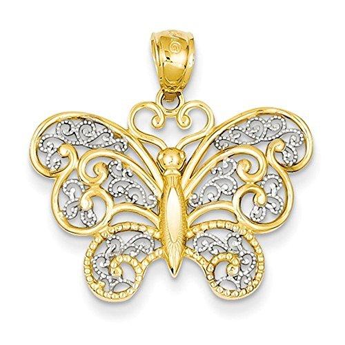 CKL International 14k Yellow Gold and Rhodium Filigree Butterfly Pendant Charm