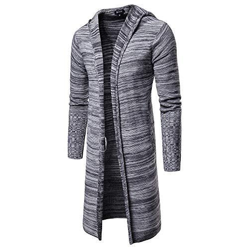 Casual para y sólido Sweater Yvelands Larga Color con Hombre de Gris Capucha Punto Cardigan Ofertas Fashion Trench qqOvPxt