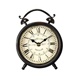 Adeco CK0030 CK0030 Vintage-Inspired Brown Iron Alarm Clock Style Wall Hanging or Table Top Clock, Roman Numerals Home Decor, Black, Brown