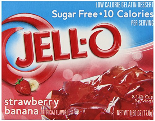 (JELL-O Strawberry Banana Sugar Free Gelatin Dessert Mix (0.60 oz Boxes, Pack of 6))