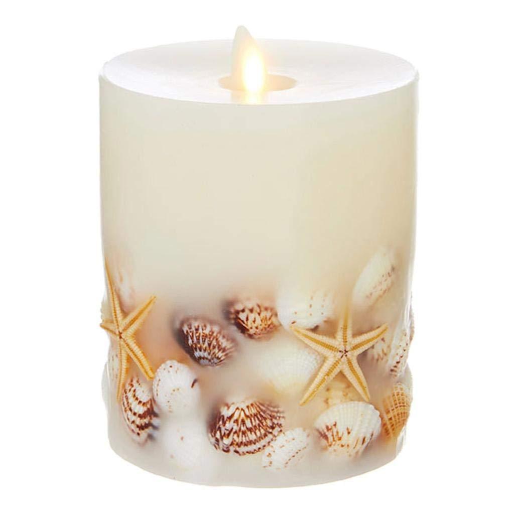 Liown 4'' x 5'' Flameless Embedded Seashell LED Wax Battery Operated Pillar Candle SKU 39104