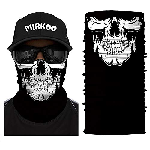 MIRKOO 3D Premium Breathable Seamless Tube Skull Half Face Mask, Windproof Dust-proof UV Protection Bicycle Bike Motorcycle Face Mask for Cycling Hiking Camping Climbing Fishing Hunting ()