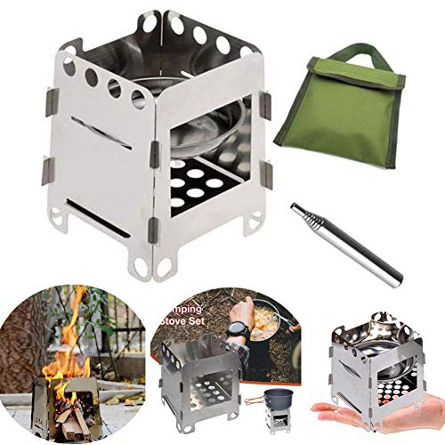 S WIDEN ELECTRIC Camping Stove Set, Backpacking Stove Portable Stainless Steel Firewood Stove Card Furnace with Alcohol Tray Blowing Torch, Flatpack Stove for Picnic BBQ Camp Hiking