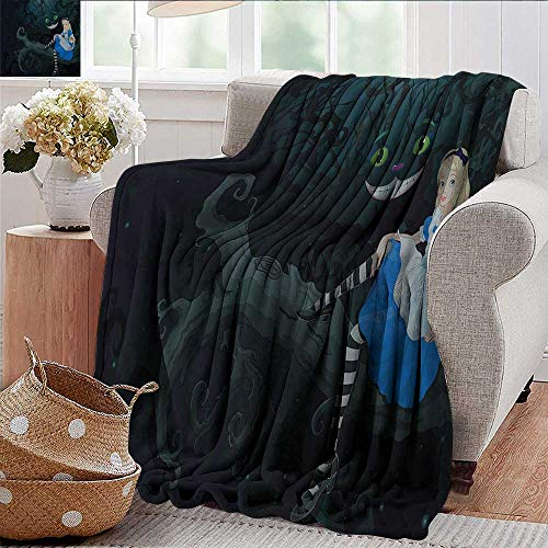 Xaviera Doherty Flannel Throw Blanket Alice in Wonderland,Fairytale Kids Winter Luxury Plush Microfiber Fabric 50