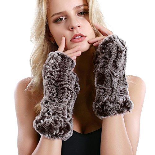 Women Fur Gloves - Real Rabbit Fur Mittens Winter Knit Warm Fingerless Hand Warmer (Coffee)