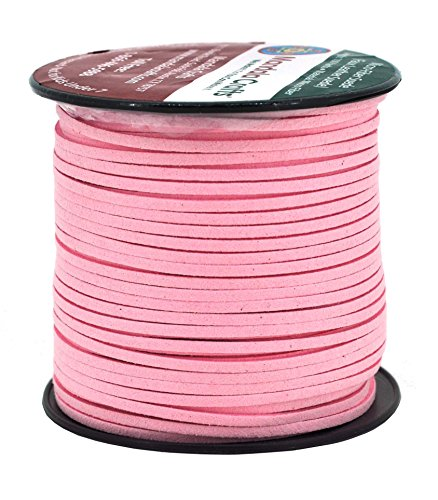 Mandala Crafts 100 Yards 2.65mm Wide Jewelry Making Flat Micro Fiber Lace Faux Suede Leather Cord (Baby Pink) (Suede Necklace Pink)