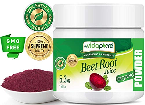 Beet Root Juice Powder Organic Freeze-Dried, Pure Natural RAW Gluten-Free, Non-GMO. Natural Booster, Superfood Powder for Smoothie, Beverages. 5.3 oz – 150 gr. by myVidaPure