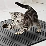 Asobeage Waterproof Cat Litter Mat Silicone (31 x 23 inch), Anti-Slip Scatter Control Anti-Microbial FDA Grade Silicone Easy Cleaning Cat Litter Trapper