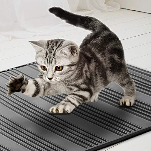 Asobeage Waterproof Cat Litter Mat 80 X 58 cm, Anti-Slip Scatter Control Silicone Easy Cleaning Cat Litter Trapper