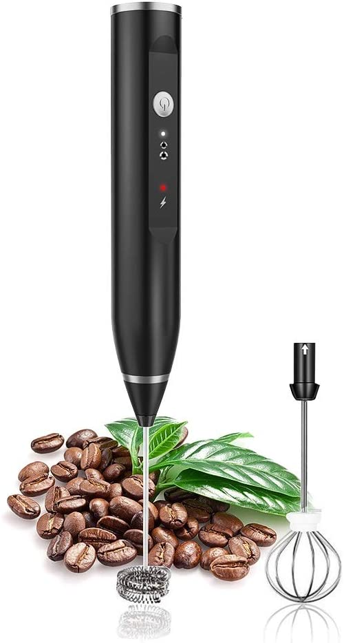 Huaguo 9CMS Milk Frothers Rechargeable Electric Handheld with Stainless Steel Whisk, Salt, Black