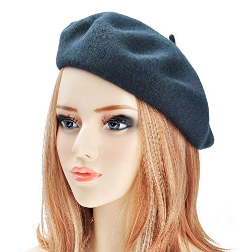 (ZLYC Wool Beret Hat Classic Solid Color French Beret for Women Girls (Blue))