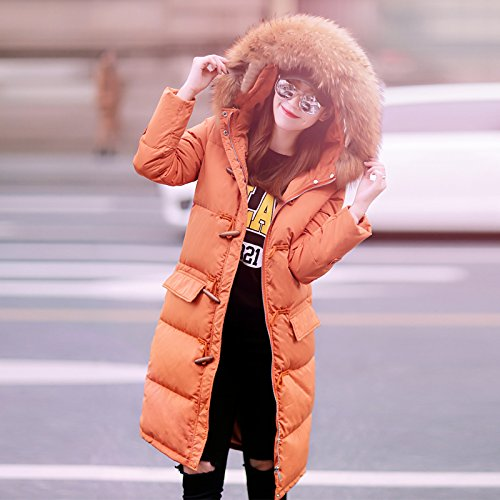 Extended Down The Knee Section In Orange Thick Long Warm Hooded Jacket The Women Xuanku Of vdx88q