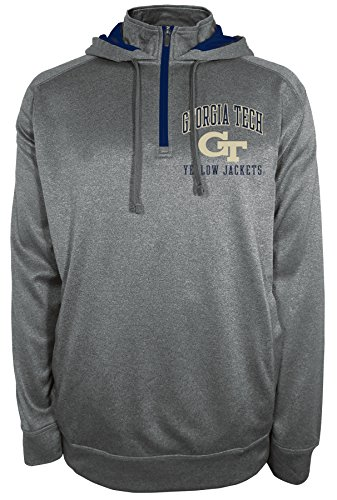 Champion NCAA Georgia Tech Yellow Jackets Max Protect Hooded Quarter Zip Hoodie, SMALL, Anthracite