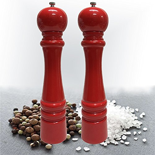 2 PCS Salt and Pepper Grinders Mills Set︳Natural Solid Eucalyptus Wood Ceramic Grinder Red Finishing︳H=13.75 inch or 35cm Large Mills︳Salt and Pepper Shakers
