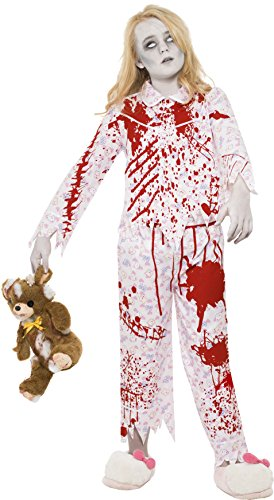 Smiffy's Children's Zombie Pyjama Girl Costume, Top & Trousers, Ages (Halloween Costumes For Girls Age 11 Zombie)