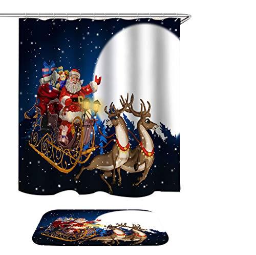s Christmas Shower Curtain with Rugs, Winter Season Santa Sleigh Moon Present Snow 72