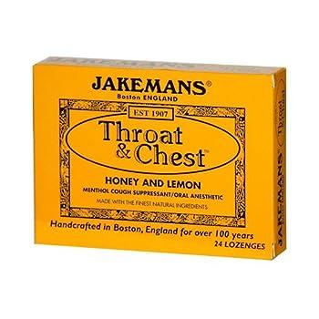 JAKEMANS Honey Lemon Throat and Chest Lozenge Box, 24 Count (Pack of 24)
