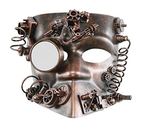 KAYSO INC The Activist Victorian Steampunk Bauta Full Face Masquerade Mask (Rustic Bronze) (Victorian Face Masks)
