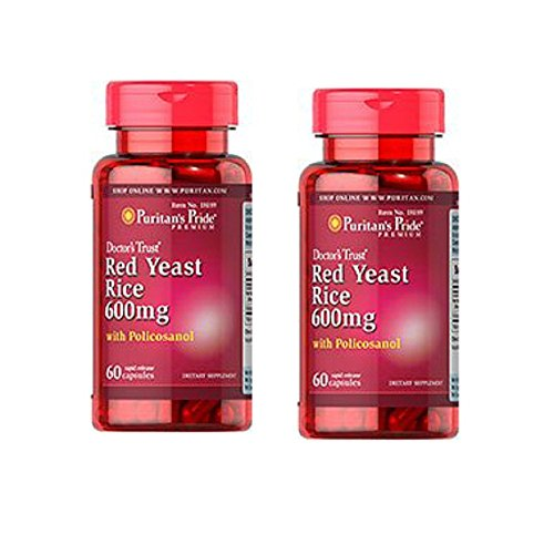 Levure de riz rouge et Policosanol, 600 mg / 10 mg / 60 capsules, deux bouteilles