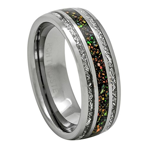 PCH Jewelers 8mm Tungsten Ring Created-Opal Imitated Meteorite Wedding Band 7-13 - With Opal Wedding Mens Band