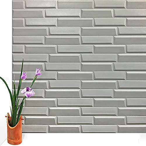 Wallpaper 3d elastic brickTV background brick 70 77CM 3d wall stickers living room flexible foam brick stickers bedroom imitation soft Buy one get one ( Color : Gray ) Wall Foam Roll