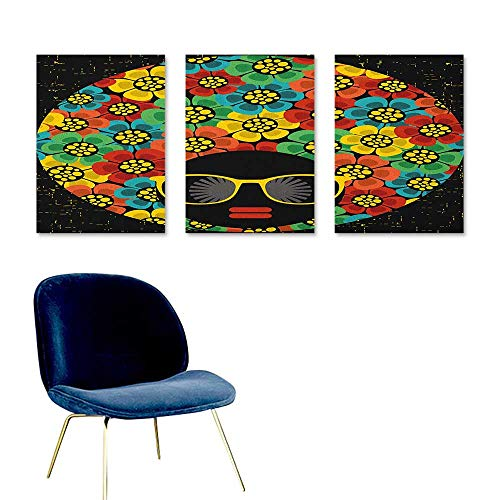 J Chief Sky 70s Party,Wallpaper Sticker Abstract Woman Portrait Hair Style with Colorful Flowers Sunglasses Lips Graphic Mural Wallpaper Multicolor W24 x L48 ()