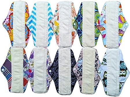 10 compresas sanitarias de bambú, lavables y reutilizables + 1 bolsa impermeable