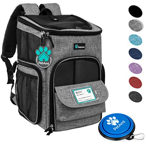 PetAmi Pet Carrier Backpack for Small Cats, Dogs, Puppies   Ventilated Structured Frame, 4 Way Entry, Safety and Soft Cushion Back Support   Collapsible for Travel, Hiking, Outdoor (Heather Gray)