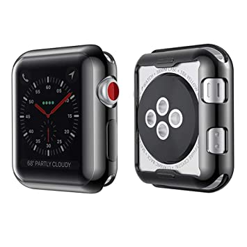 Teepao - Carcasa de TPU para Apple Watch Series 4/3/2, 44 mm, 42 mm, 40 mm, 38 mm, Negro, 44 mm
