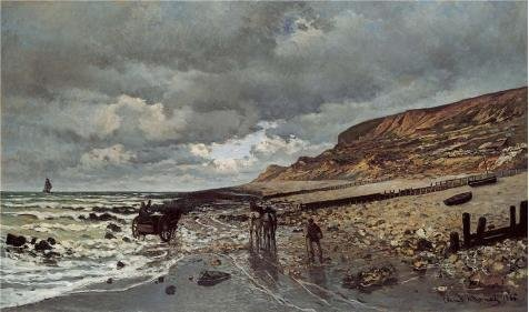 Oil Painting 'The Pointe De La Heve At Low Tide, 1865 By Claude Monet' Printing On High Quality Polyster Canvas , 18x30 Inch / 46x77 Cm ,the Best Powder Room Decoration And Home Decoration And Gifts Is This Vivid Art Decorative Canvas Prints