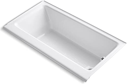 KOHLER K-878-S-0 Highbridge Cast Iron Bath with Enameled Apron and Right-Hand Drain, White