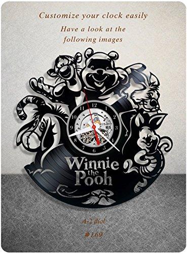Winnie the Pooh vinyl clock, vinyl wall clock, vinyl record clock pooh bear winnie-the-pooh walt disney classics a.a. milne teddy bear wall art home decor kids gift 169 - (a2) (The Pooh Winnie Clock)